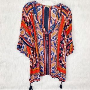 Democracy Multi colored boho top w/tassels-Large